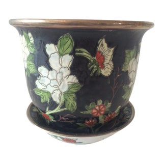 Vintage Asian Black Small Cachepot