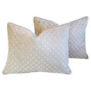 Soft Pale Aqua Blue Velvet Geometric Pillows - A Pair