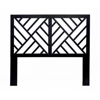 Black Chinese Chippendale Queen Headboard