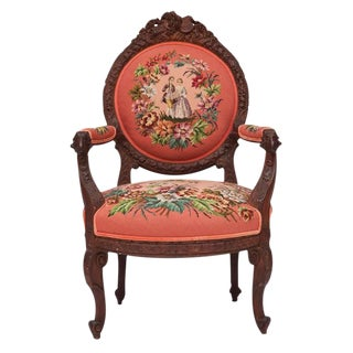 Hand-Carved French Needlepoint Aubusson Chair