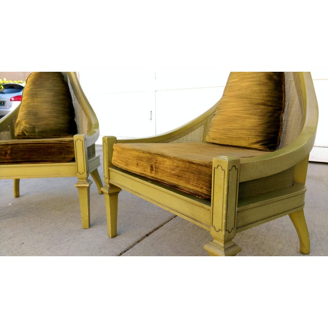 Mid-Century Green Cane Slipper Chairs - A Pair - Image 8 of 10
