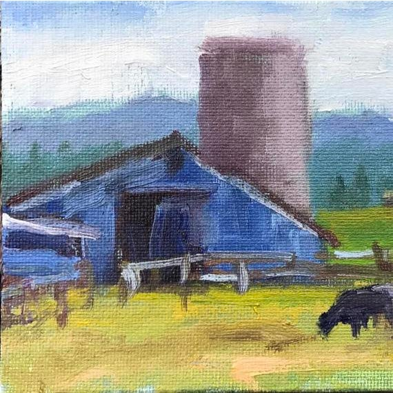 """Petaluma Blue Barn & Cow"" Painting - Image 6 of 11"