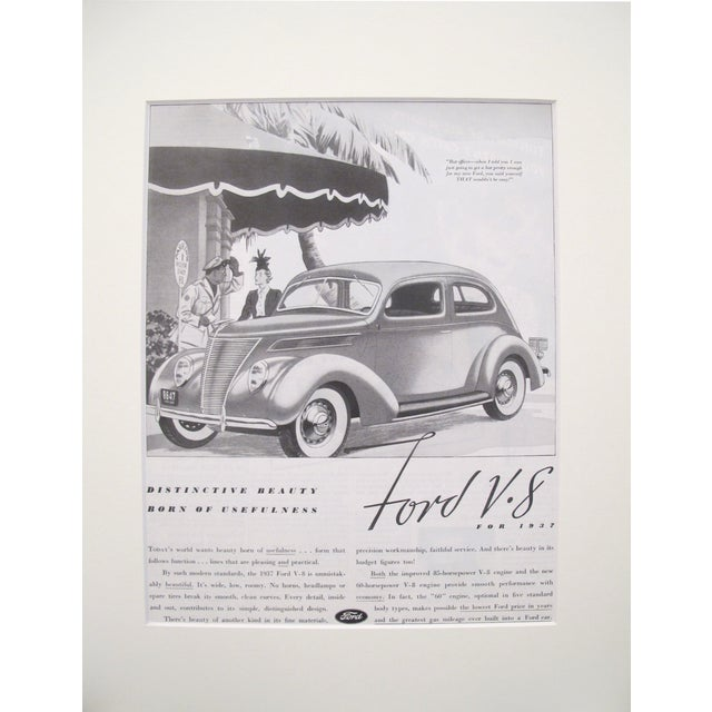 Image of 1930s Matted Ford V8 Black and White Car Ad