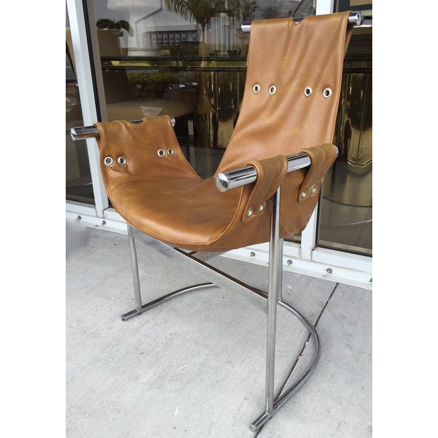 1970's Chrome and Faux Leather Chairs- Set of Four - Image 4 of 7
