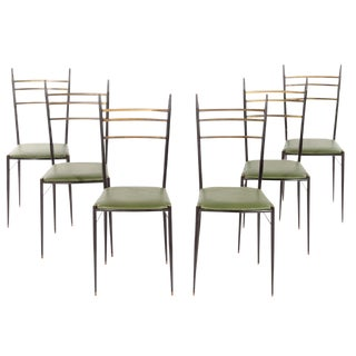 1960s Italian Iron Brass Dining Chairs - Set of 6