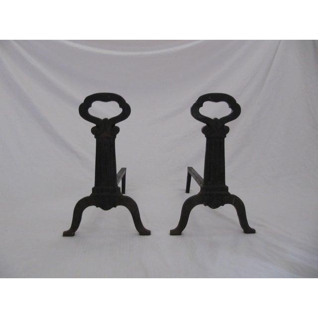 Image of Cast Iron Skeleton Key Andirons - Pair