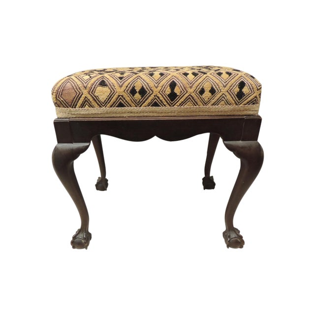 Antique African Textile Upholstered Bench - Image 1 of 5