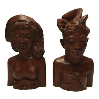 Vintage Bali Wooden Busts - A Pair