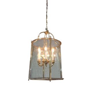 Hollywood Regency Glass Brass Hanging Light