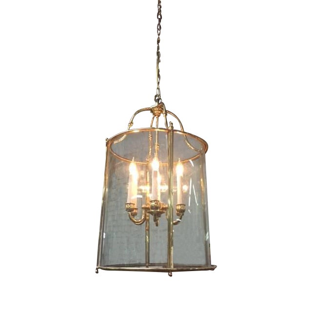 Hollywood Regency Glass Brass Hanging Light - Image 1 of 5