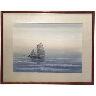 Framed Boat At Dusk Painting