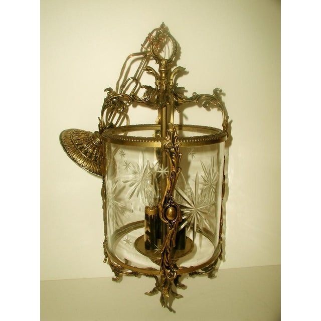 Etched & Rewired German Crystal/Bronze Fixture - Image 2 of 10
