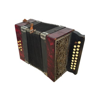 Antique 1920s Red Concertina