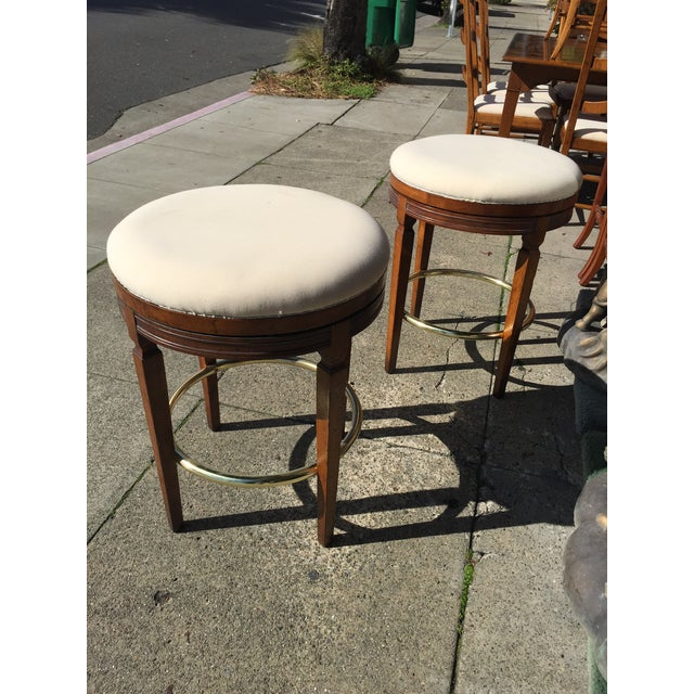 Walnut Backless Swivel Stools - A Pair - Image 5 of 5