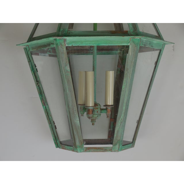 Hexagon Shabby Chic Hanging Copper Lantern - Image 10 of 11