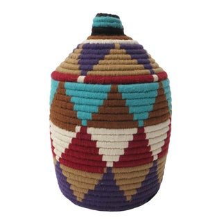 Moroccan Handwoven Brown Bread Basket