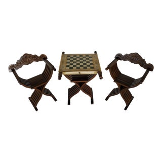 Savonarola Chairs & Slatted Folding Table With Chess Board - Set of 3