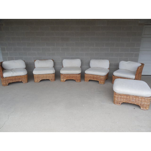 Vintage Wicker Sectional Patio Seating Set - Set of 6 - Image 4 of 8
