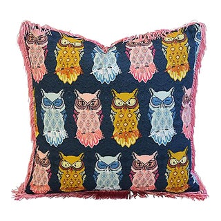 "18"" Custom Tailored Colorful Hooting Owls Feather/Down Pillow w/ Fringe"