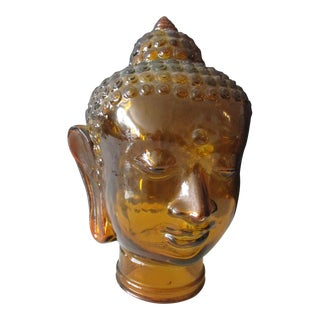 Heavy Gold Glass Buddha Head