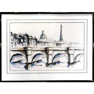 """View From Pont Alexander Bridge III"" Mixed Media Drawing"