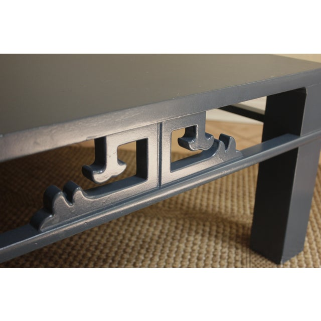 Image of Chinoiserie Navy Blue Wood Carved Low Coffee Table