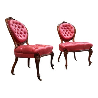 Fine Victorian Carved Walnut Slipper Chairs