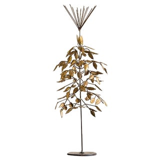 Vintage French Mid Century Gilded Metal Sculpture, Bertoia and Jere Style, circa 1965