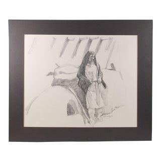 Pencil Portrait Pueblo Woman