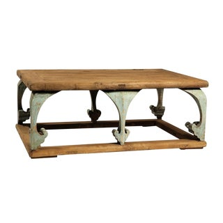Reclaimed Wood Carved Leg Coffee Table