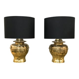 Pair, Mid Century Brass Ginger Jar Lamps