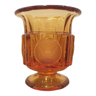 Fostoria Coin Glass Footed Cigarette Urn in Amber