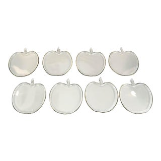 Set of 8 Glass Apple Shape Plates