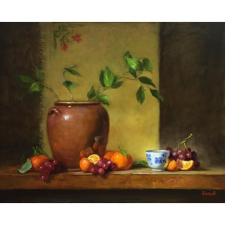 Still Life with Flower Pot, Tangerines and Grapes