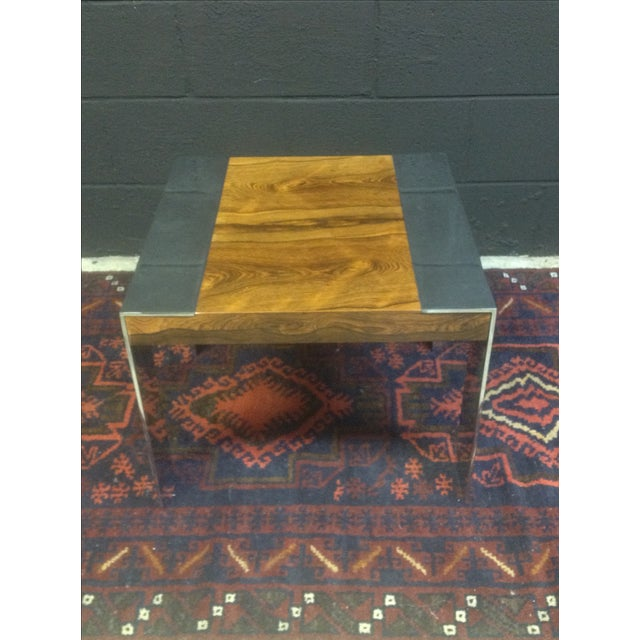 Milo Baughman Rosewood And Chrome Side Table - Image 3 of 6