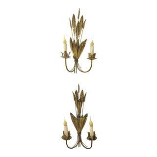 Brass Italian Wheat Sconces - A Pair