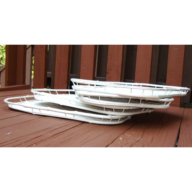 Hollywood Regency White Bamboo Rattan Trays - Image 10 of 11