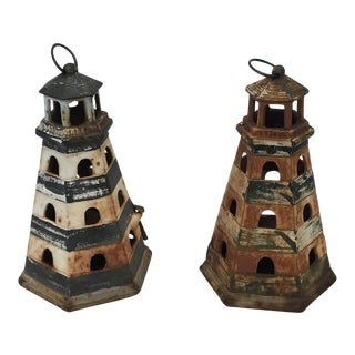 Antique Iron Light House Candle Holders - A Pair