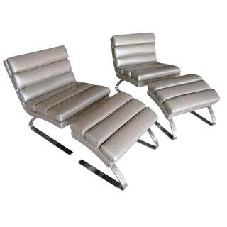 Segmented Lounge Chairs & Ottomans - A Pair