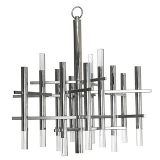 Sciolari 1970s Chrome & Lucite Chandelier