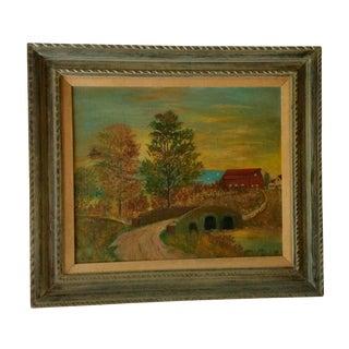 Vintage Framed Country Landscape Painting