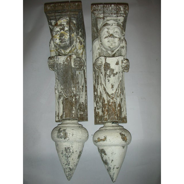 Antique Carved Oak Gargoyle Brackets - A Pair - Image 4 of 11