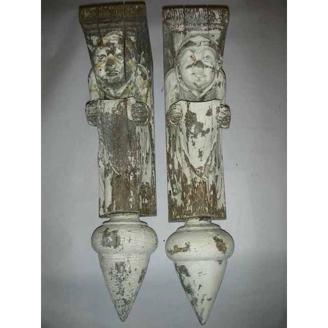 Image of Antique Carved Oak Gargoyle Brackets - A Pair