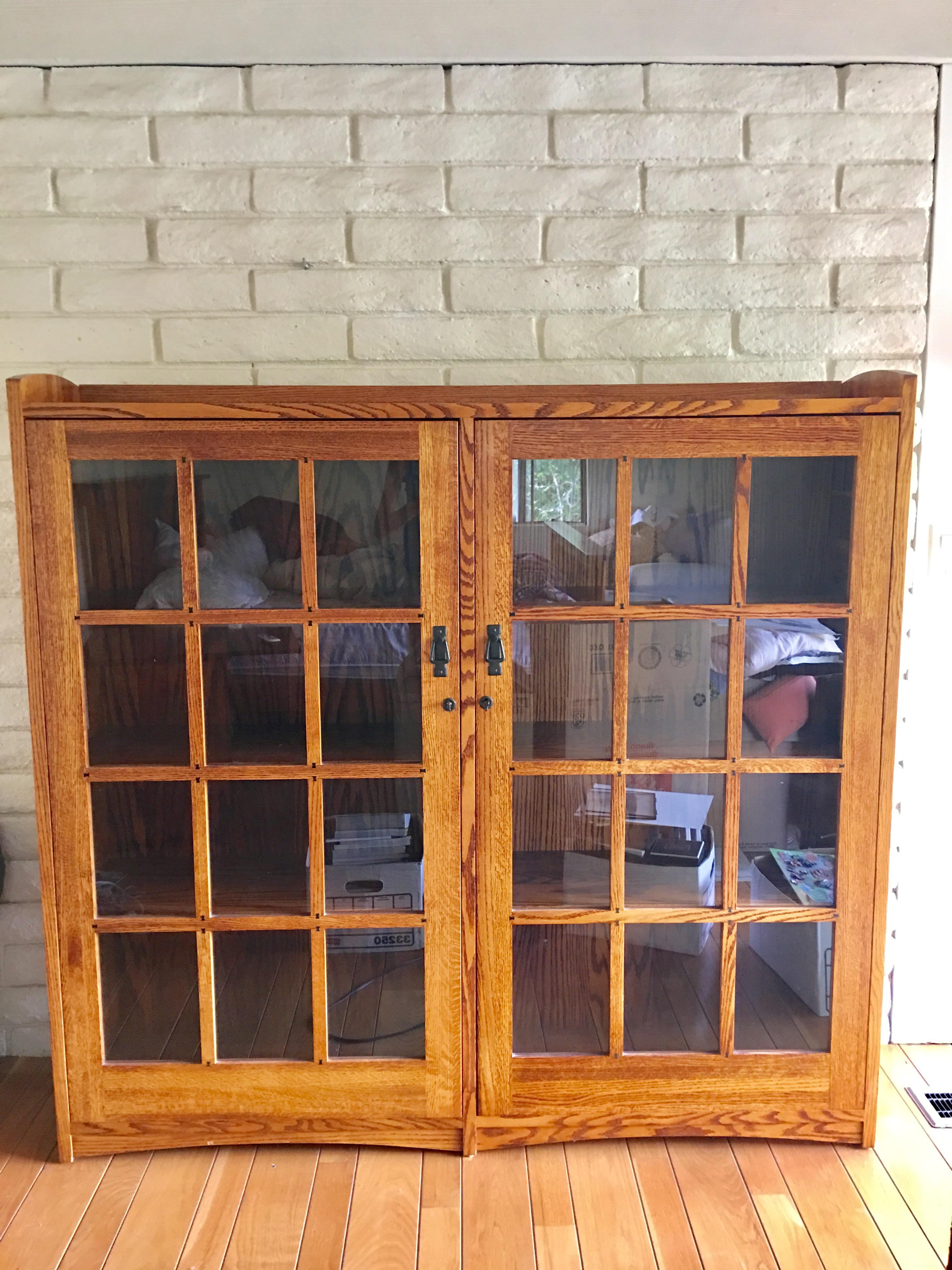 restoration hardware mission style oak u0026 glass bookcase image 2