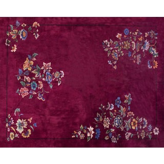 Chinese Art Deco Red Carpet- 9′ × 11′4″