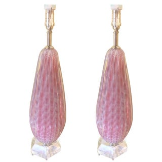 Pink & White Murano Glass Table Lamps - A Pair