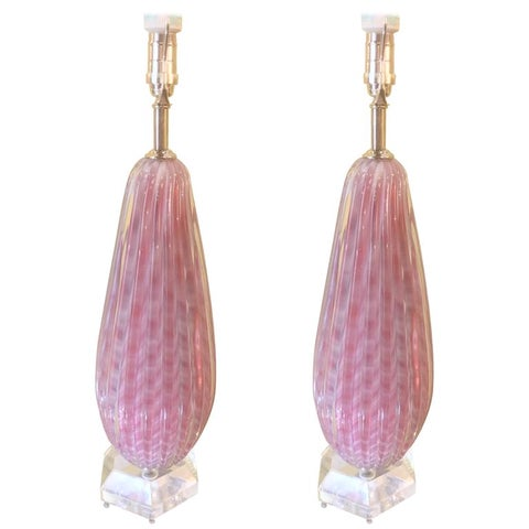 Image of Pink & White Murano Glass Table Lamps - A Pair