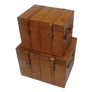 Leather Trunk Boxes - a Pair of 2 Storage Trunk