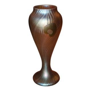 Frederic Carders Steuben Glassworks Aurene Flowers & Vines Vase - Masterpiece