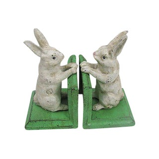 White Bunny Rabbit Cast Iron Bookends - A Pair